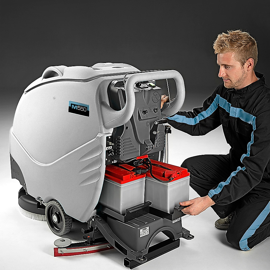 MACH M550 WALK BEHIND AUTO SCRUBBER WITH HASSLE FREE BATTERIES