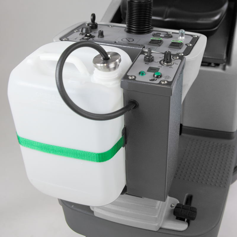 M830 RIDE ON SCRUBBER WITH DOSEMATIC SYSTEM, SAVES ON CHEMICAL AND COST